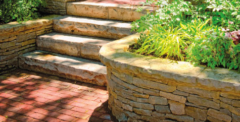 Retaining wall and stone steps.
