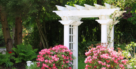 Archway in a landscaped backyard with flowers.